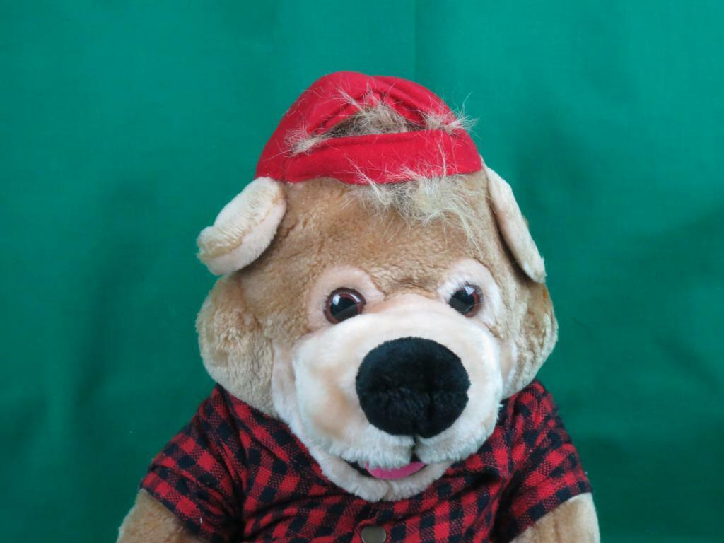 BIG VINTAGE 1983 SPECIAL EFFECTS BROWN TEDDY BEAR PLAID SHIRTS RED HAT PLUSH