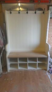 Image Is Loading Handmade Bespoke Pew Settle With Coat Hooks And