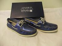 Sperry Top Sider A/o Blue Metallic Leather Boat Shoe Size 7 Eu 37.5 $95