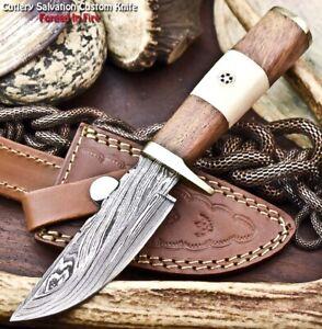 Handmade Damascus Steel Blade Hunting Knife   CAMEL BONE