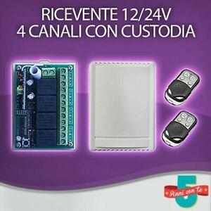 RICEVENTE 4 CANALI CON CUSTODIA + 2 TELECOMANDI 433 MHZ CANCELLI SERRANDE LUCI