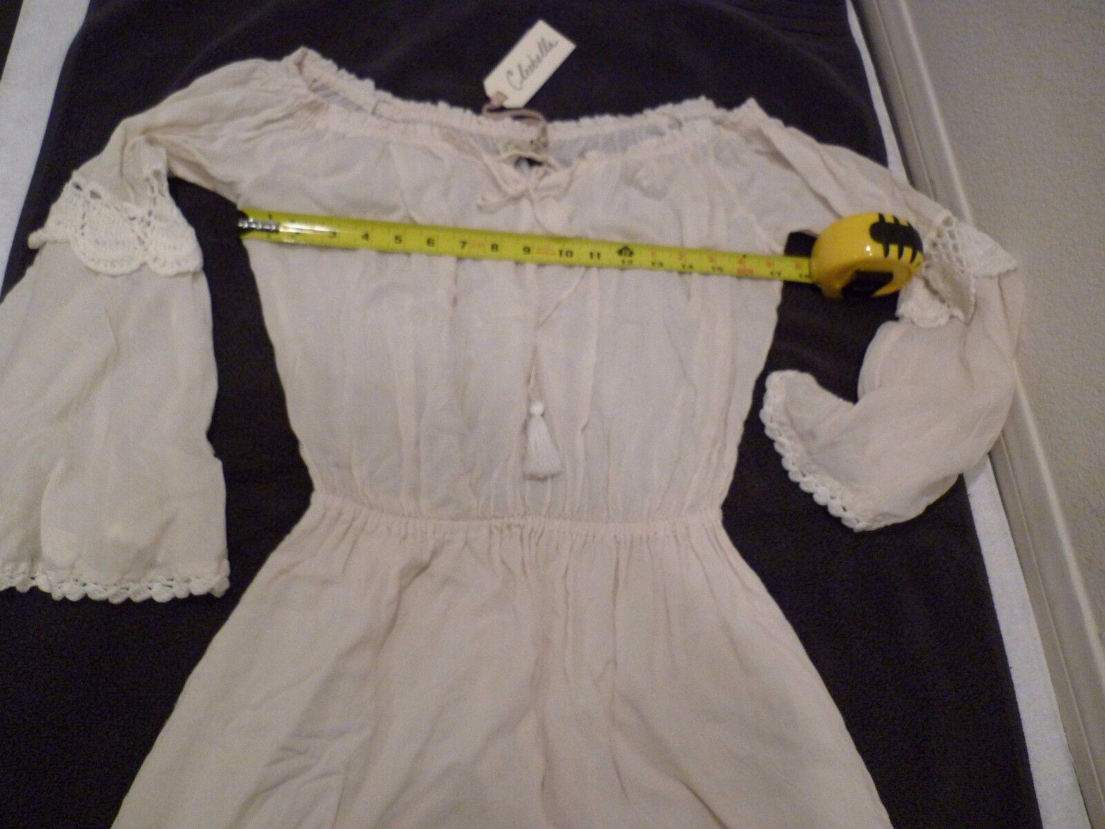 CLEOBELLA DESIGNER embroidered dress ivory bell bell bell sleeves off shoulder SZ S-NWT ac2bc3