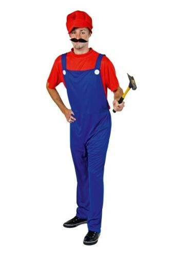 FM Herren Kostüm Super Klempner rot-blau Karneval Fasching