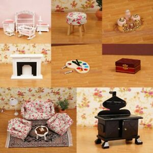 1/12 Dollhouse Miniature Wooden Kitchen Furniture Sofa Chair Bedroom Kids Decor