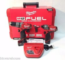 """Milwaukee 2597-22 NEW M12 Fuel 1/2"""" Hammer Drill/Driver and Impact Combo Kit"""