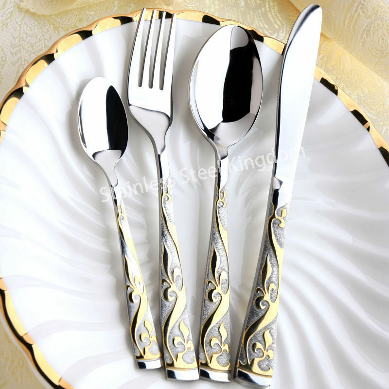 28 Pcs Pcs Pcs 18 10 Stainless Steel 18K Gold Plated Cutlery Dinnerware Set- Royal Style e7f73e