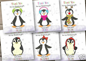 5-10 PENGUIN CHRISTMAS GIFTS PRESENTS THANK YOU CARDS BOY & GIRL | eBay
