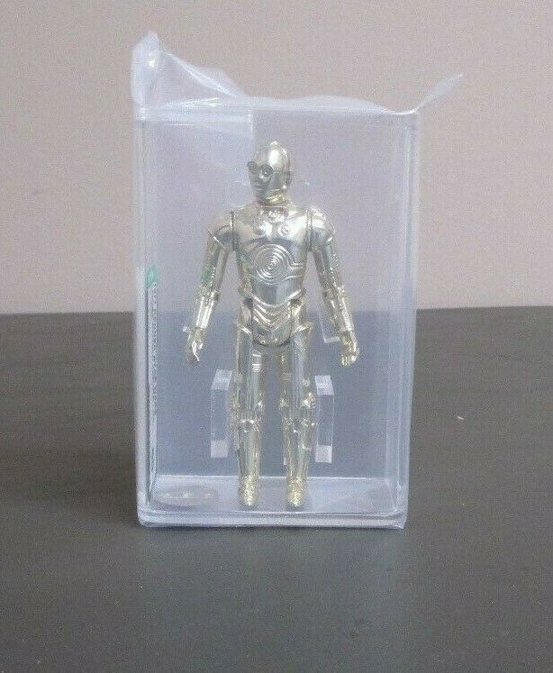 C-3PO 1977 Estrella Wars Graduado Afa 80+ casi como nuevo HK Coo JJ nuevo caso