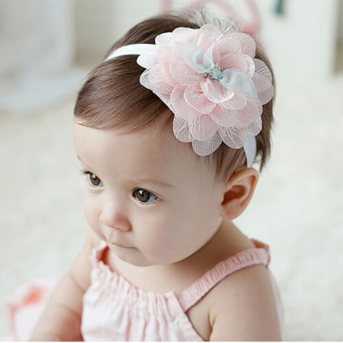 Newborn Baby Girl Kids Infant Headband Foot Flower Elastic Hair Band RU