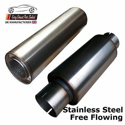 """127mm 5/"""" Stainless Exhaust Back Middle Box Silencer Muffler 57 mm 2.25/"""" Bore"""
