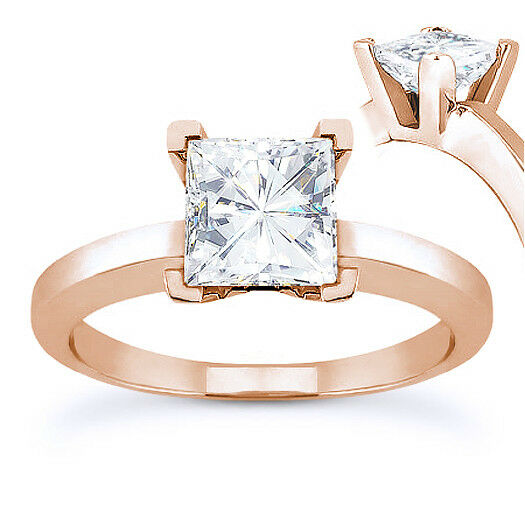 Square Brilliant Cut Moissanite 14k pink gold 4-Prong Solitaire Engagement Ring