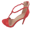 thumbnail 4 - Womens Ladies Red Faux Suede High Heel Party Sandals Shoes Size UK 4 5 6 7 8 New