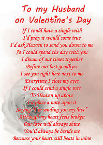 Husband On Valentines Day Memorial Graveside Poem Card Free Ground