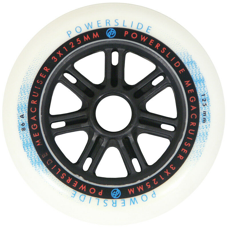 6x Powerslide Megacruiser Wheels 125mm 86A Inline Skate Rollen weiß