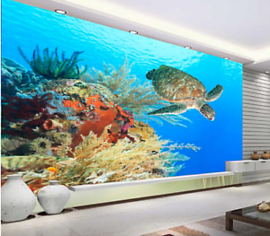3D Coral tortugas marinas 946 Papel de Parojo de suelo Parojo Murales Wallpaper impresión AJ Reino Unido Limón
