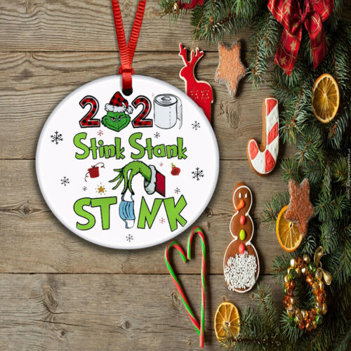 Christmas Grinch 2020 Stink Stank Stunk Ornament Tree Decor Ceramic Front Back