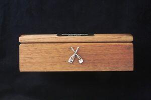 Crossed Oars Oak Jewellery Box 6x4 Photo Insert FREE Engraving Rowing Gift