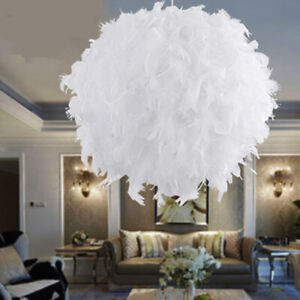 White Feather Shade Droplight Lamp Hanging Ball Bedroom Led Ceiling Light 30cm Ebay