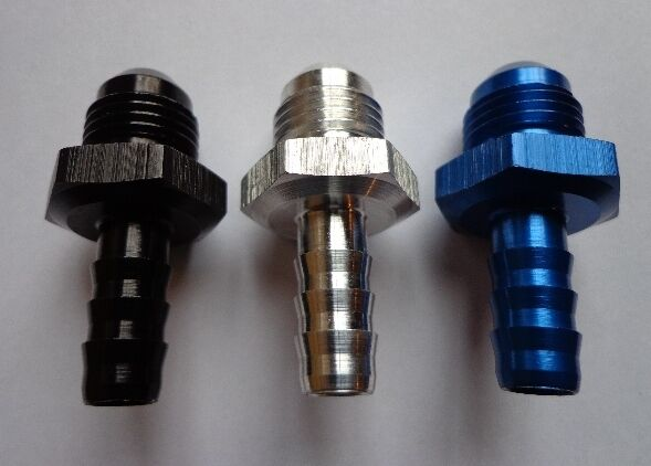 BLUE -6 AN Male Flare to 5/16  Hose Barb Adapter,  Fuel Hose Fitting