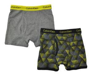 Calvin Klein Boys Gray & Black 2 Pack Boxer Briefs Size 4/5 6/7 8/10 12/14 16/18