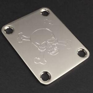 2019 Nouveau Style Gravé Gravé Guitar Neck Plate Fender Taille-skull & Bones-chrome-afficher Le Titre D'origine éLéGant Et Gracieux