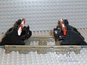 LEGO-Eisenbahn-2-Prellboecke-Prellbock-schwarz-mit-Puffer-Magnet-9V-4-5V-12V