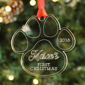 Dogs First Christmas Ornament.Details About Personalised Dog Puppy First Christmas Paw Bauble Family Pet Keepsake Xmas Gift