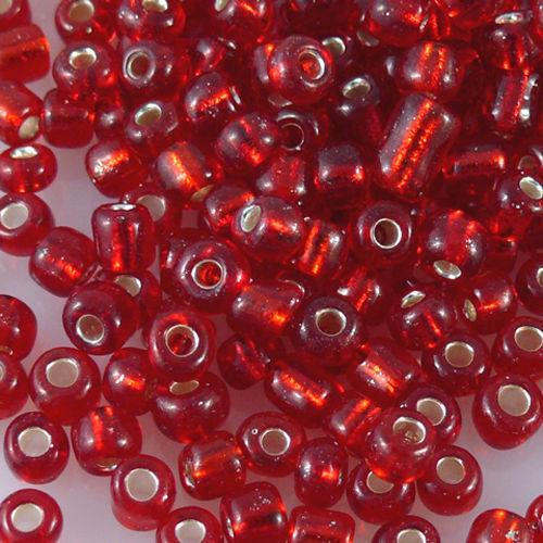 280 Rocailles abalorios rojo con plata sangría 3-4mm rocaillesperlen para bricolaje