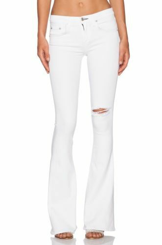 Straccio & Ossa High High High Rise Elephant Bell Tight Flare Bianco Rip Jeans S.24, 25, 51b87d