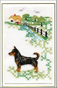 Lancashire Heeler Birthday Card  or Notecard Embrodiered by Dogmania