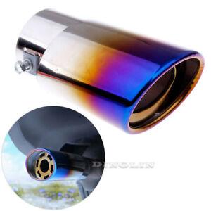 Slant-Burnt-Blue-Titanium-Car-Stainless-Steel-Exhaust-Tail-Muffler-Tip-Pipes-New