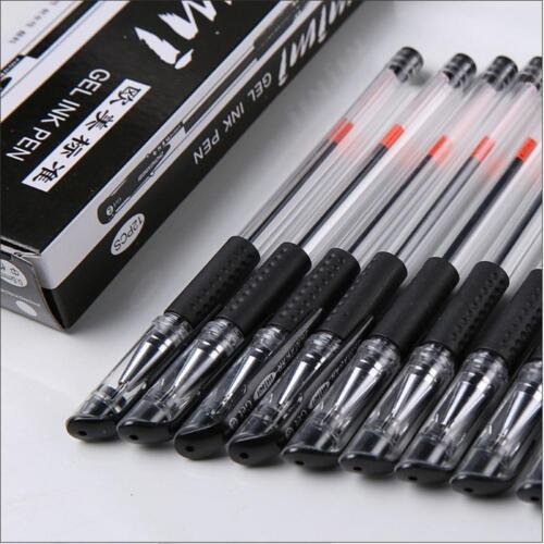 12x 0.5mm Schwarzer Gel-Tintenroller-Kugelschreiber für-Schule Büroartikel T2W7