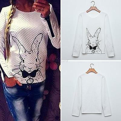 Casual Women's White Rabbit Print Knitted Sweater Tops Long Sleeve Zip Pullover
