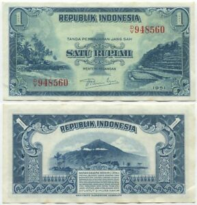 Image Is Loading Indonesia 1 Rupiah 1951 Xf Au P 38