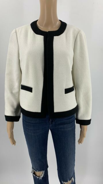 Ann Taylor Womens Open Blazer Jacket White Size 10 Tweed Cotton Blend Career D4