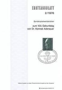 Nr Rfa Ersttagsbrief 1976 Konrad mit 876 Bonner Adenauer UWWFnf