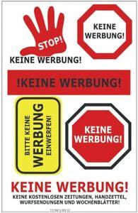 Etiketten-034-Keine-Werbung-034-1-Bogen-selbstklebend