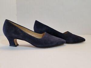 e478bdc58e5 Details about NINE WEST Phoebe Sz 6.5M Suede Pointed Toe Low Heels Pumps  Dark Blue