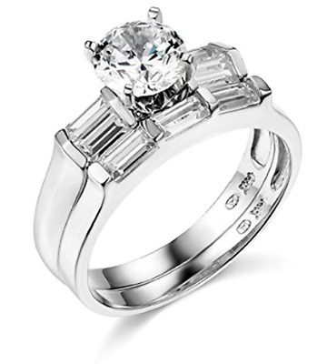 2.70 Ct Round Cut Real 14k White Gold Engagement Wedding Anniversary Band Ring