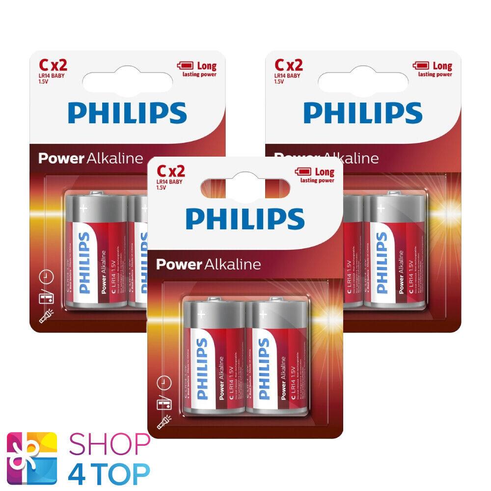 6 Philips Power Alkaline C Batteries 1.5v blister lr14 Baby 2bl Exp 2030 NEW