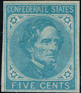 CSA#6 1862 5c LIGHT BLUE, De La Rue PRINT CONFEDERATE STATES ISSUE MINT-OG/NH