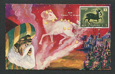 FäHig San Marino Mk 1970 Tierkreiszeichen Zodiac Widder Maximumkarte Mc Cm 60575 Schnelle Farbe Briefmarken