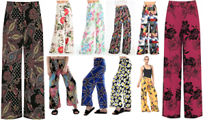 New-Ladies-Plus-Size-Flared-Wide-Leg-Printed-amp-Plain-Parallel-Palazzo-Pants-8-26