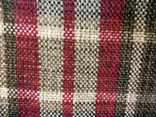 MIXED FIBRE TARTAN Good for many projects Cranberry red//natural colours SALE