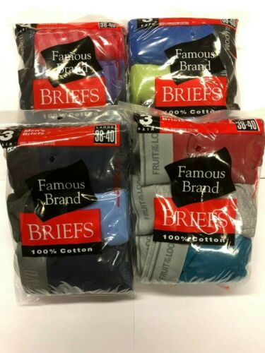 FRUIT OF THE LOOM COLOR BRIEFS 12 PK  IN FAMOUS BRAND  BAG
