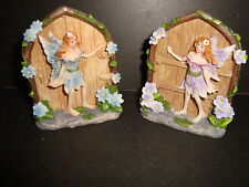 Pair of Delicate Small  Resin Fantasy Fairy Doors Figures~B~uk seller