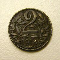 1918 AUSTRIA  2 Heller Coin
