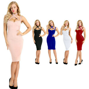 Sexy-Women-039-s-Bodycon-Dress-Halter-Evening-Cocktail-Party-Gown-Clubwear-Skirts