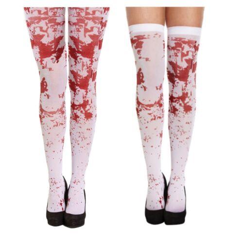 Halloween Hold Up Stockings Collants blancs du sang Coloré Zombie Stripey sanglante UK