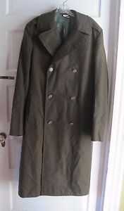a9aab3d1a93 Details about Military Issue Army Serge Green 100% Wool Overcoat Coat Mens  36 L Dale Fashions